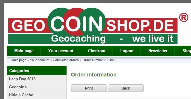 Ny ladning med utstyr fra Geocoinshop.eu