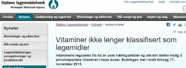Nå kan du importere høye doser vitaminer og mineraler!