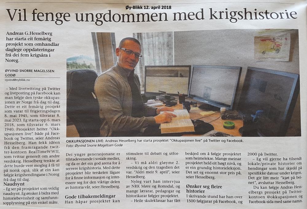 """""""Okkupasjonen live"""" omtalt i lokalavisa"""